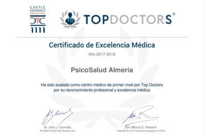 Diploma Certificado de Excelencia Top Doctors a Psicosalud Almería