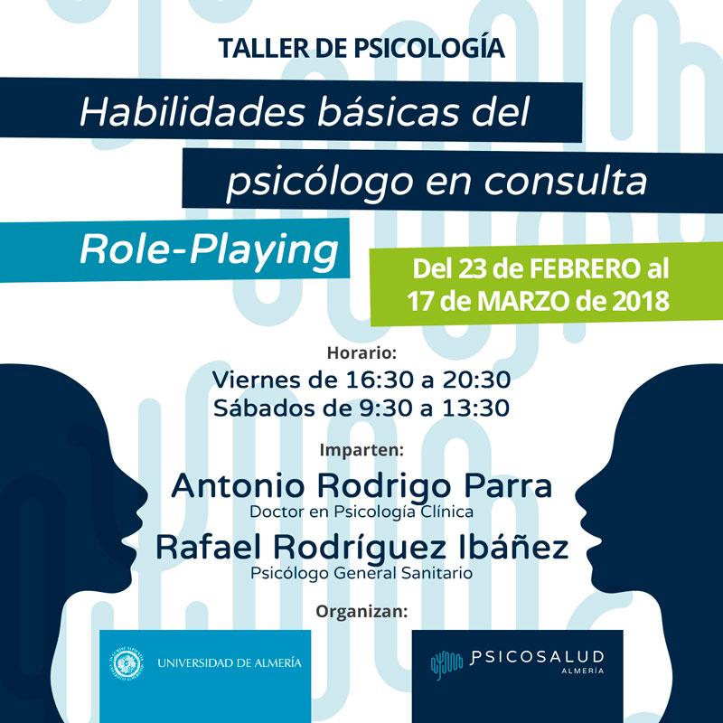 Taller de psicología en Almería: Habilidades Básicas del Psicólogo en Consulta (Role Playing)